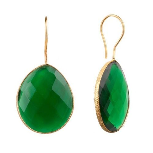 Green Onyx Gemstone Earring-  Matte finish
