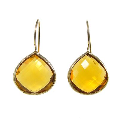 Hydro Golden Topaz Gemstone Ring-  Vermeil Gold