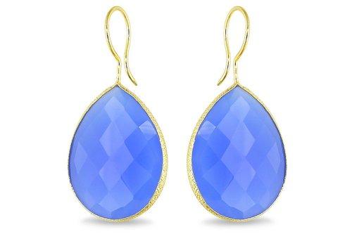 Blue Chalcedony Gemstone  Earring- Vermeil Gold