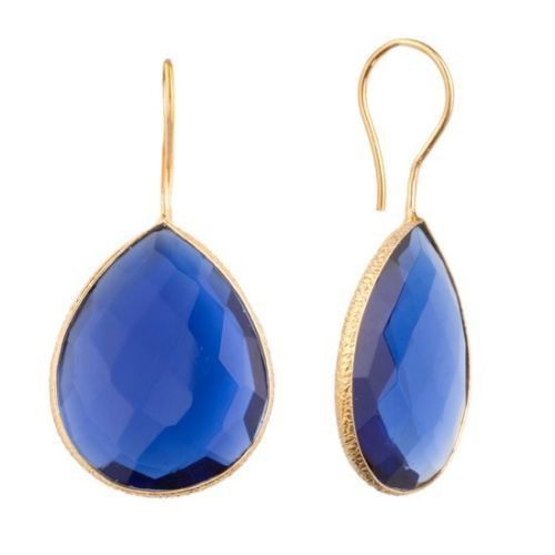 Blue Chalcedony Gemstone  Earring- Vermeil Gold