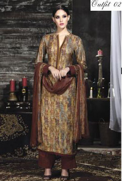 Multi Color Designer Pashmina Silk Suit