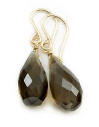 Smoky Topaz Gemstone earring- vermeil Gold