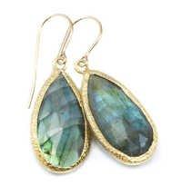 Pink Chalcedony Gemstone Earring-  Vermeil Gold Mette finish