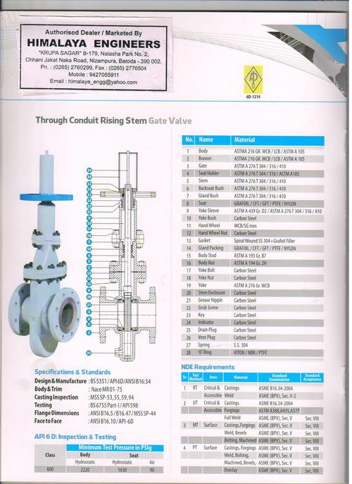 Through Conduit Rising Gate valve