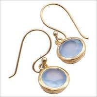 Aqua Chalcedony Gemstone earring-  Vermeil Gold