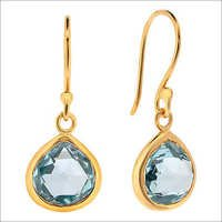 Hydro Blue Topaz  Gemstone Earring-  Vermeil Gold