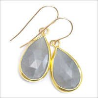 Gray chalcedony Gemstone earring- vermeil Gold