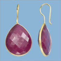 Dyed Ruby Gemstone  Earring- Vermeil Gold