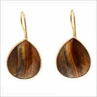 Tiger Eye Gemstone earring- vermeil Gold