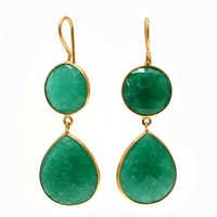 Dyed Emerald Gemstone earring-  Vermeil Gold
