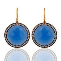 Blue Chalcedony & Zircon Gemstone  Earring- Vermeil Gold