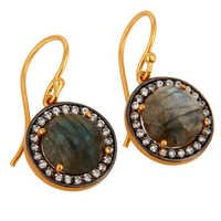 Labradorite & Cz Gemstone  Earring- Vermeil Gold