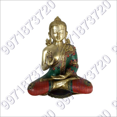 KING BUDDHA WITH STONE WORK 13INCH