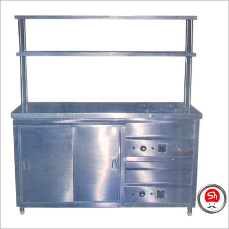 Parcel Counter with Under Counter Hot Case & 2 Over Head Shelf