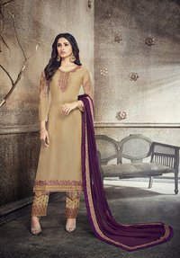 Partywear Embroidered Georgette Salwar Suit Heavy Dupatta