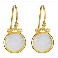 Rainbow Moonstone Gemstone Earring-  Vermeil Gold