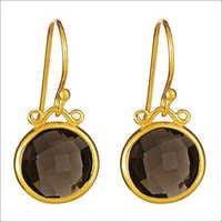 smoky topaz gemstone earring vermiel Gold