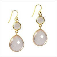 Rainbow Moonstone Gemstone & labradrite Earring-  Vermeil Gold