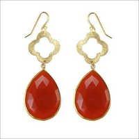 Red Onyx Gemstone Earring-  Vermeil Gold