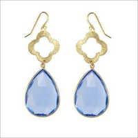 hydro Chalcedony Gemstone earring-  Vermeil Gold