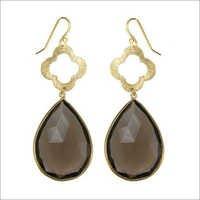 Hytro smoky Topaz earring gemstone - vermeil gold