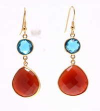 Blue Topaz &  Red Chalcedony Gemstone earring-  Vermeil Gold