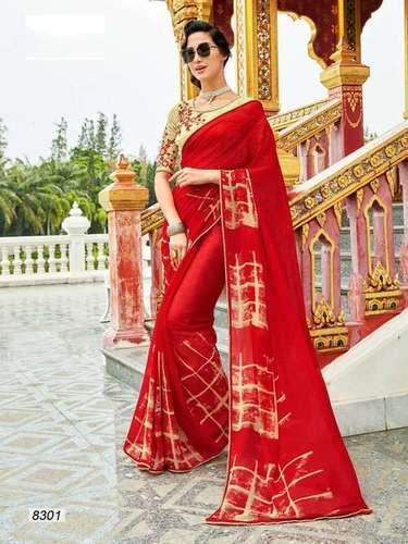 Orange Designer Georgette Lace Border Saree