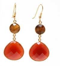 Tiger Eye Gemstone earring- vermeil Gold