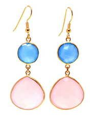 Pink Chalcedony Gemstone Earring-  Vermeil Gold