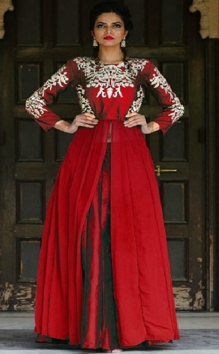 Red Georgette Stylish Anarkali Suit