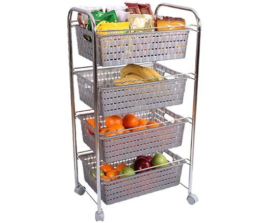 4 Tier Rattan Chroom Vegetable Rack