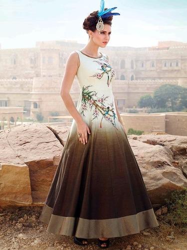 Beige & Brown Silk Stylish Digital Printed Suit