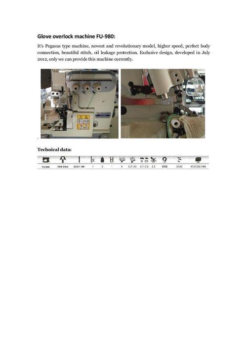 Fujita Gloves Overlock Machine