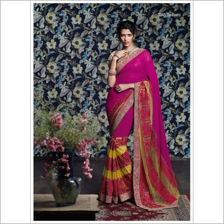 Thread embroidered sarees