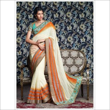 Chiffon heavy embroidery saree