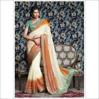 Chiffon heavy embroidery saree