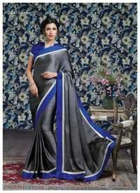 Gray Satin Chiffon Saree