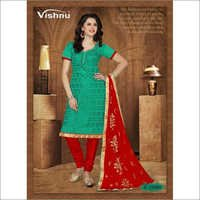 Rama green chanderi suit