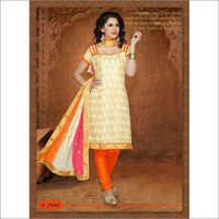 Cream yellow chanderi suit