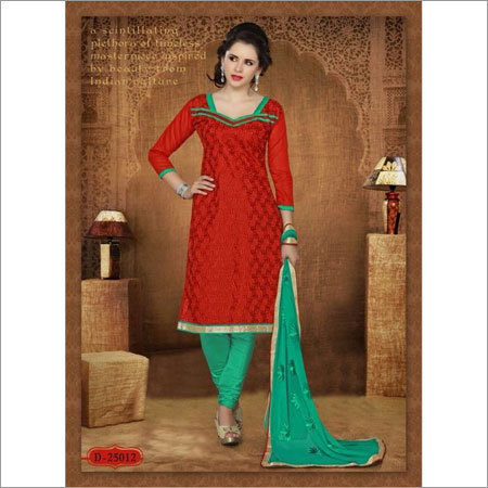Red chanderi suit