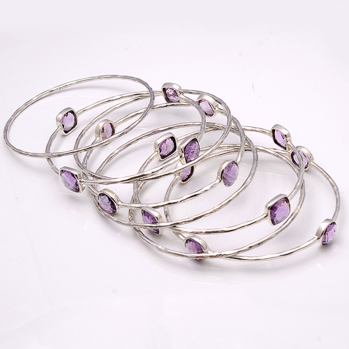 925 Sterling Silver Amethyst Gemstone Bracelate/Bangle