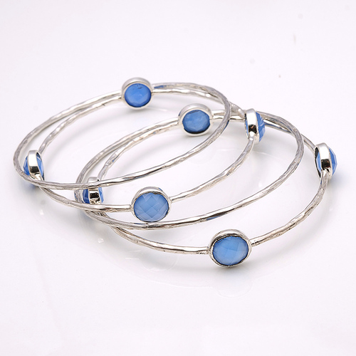 925 Sterling Silver Blue Chalcedony  Gemstone Bracelate/Bangle