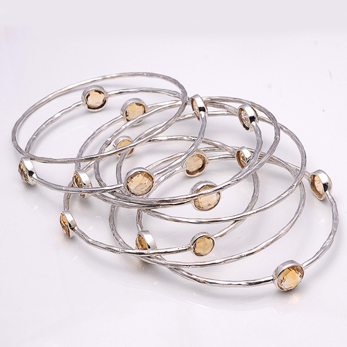 925 Sterling Silver Golden Topaz Bangale\ Bracelate