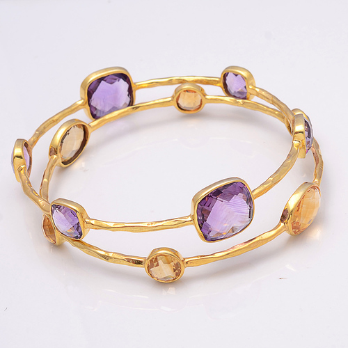 925 Sterling Silver Amethyst Gemstone Bracelate/Bangle vermeil Gold