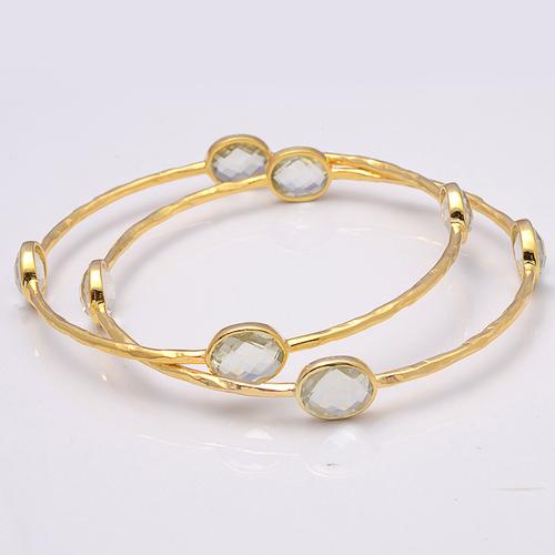 925 Sterling Silver Green Amethyst Gemstone Bracelate/Bangle