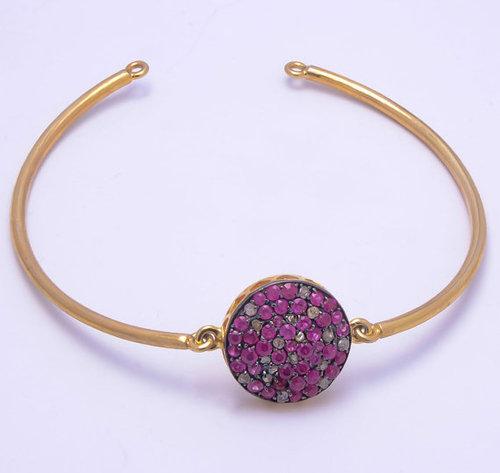 925 sterling silver ruby gemstone bangale\ bracelate