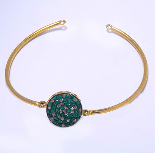 925 sterling silver emerald & Diamond Gemstone bangale\ bracelate