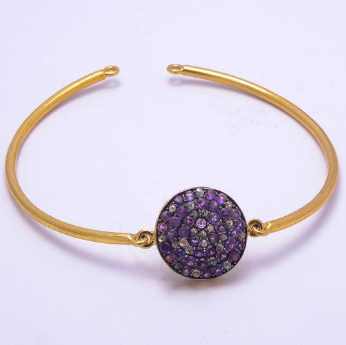 Amethyst Gemstone 925 sterling silver vermeil Gold bangles\ bracelate