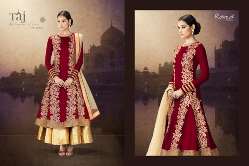 Patch work Double layer Anarkali suit