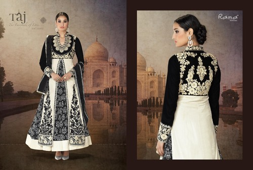Open Straight suit with back yoke & Printed Long Gown
